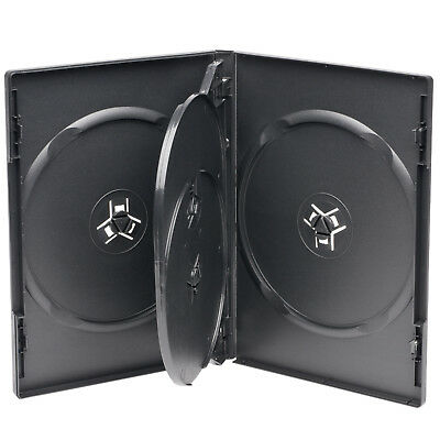 1 Standard 14mm Black Quad 4 Disc DVD Cases with Clear Overlay Holds 4 Disc