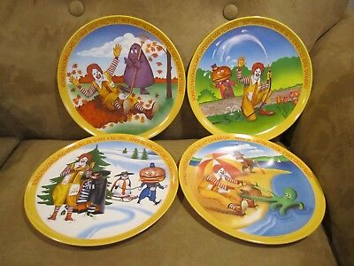 Ronald McDonald's Collector 4 Plate Set Spring Summer Fall Winter Vintage 1977