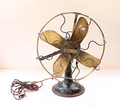 Vintage Electric Cast Iron Brass Table Desk Wall Mount Fan Marelli Italy Nh4769
