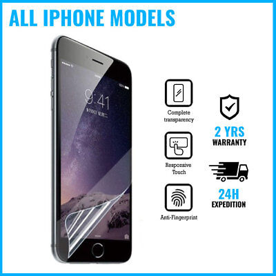 Screen Protector LCD PET Foil Film iPhone 4 4S 5 5S 5C SE 6 6S 7 8 Plus X XS XR