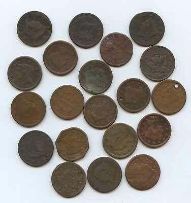 Lot of 20 Large Cents Dated (#9731) Low Grade Problems. 2 are Holed.