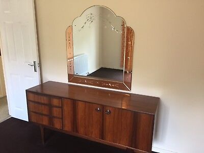 Large Vintage Art Deco Mirror C/w Peach Panels And Etching