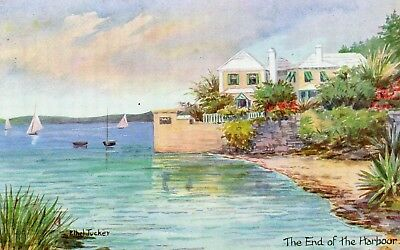 PAINTING: THE END OF THE HARBOR   BERMUDA  postally used 1969