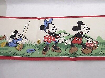1930's Disney MICKEY MOUSE Lithograph Wall Paper Border Picnic Friends Old 44.5""