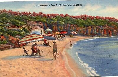 ST.CATHERINE'S BEACH  ST.GEORGES  BERMUDA  linen card