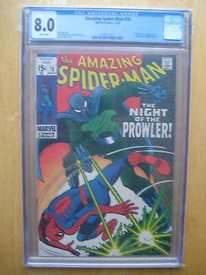 Marvel comics Amazing spiderman #78 1ST APPEARANCE PROWLER CBCS / CGC 8.0 1969