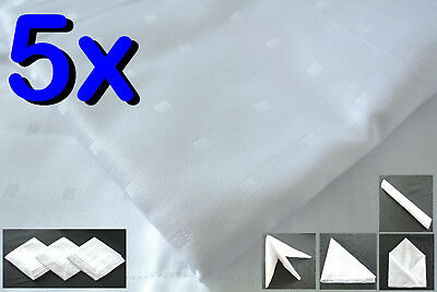 5x White Napkin 50/50 Cotton/Poly Fabric Cloth Linen Party Wedding Dining Hotel
