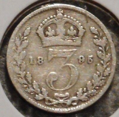 British Silver Threepence - 1895 - Queen Victoria - $1 Unlimited Ship