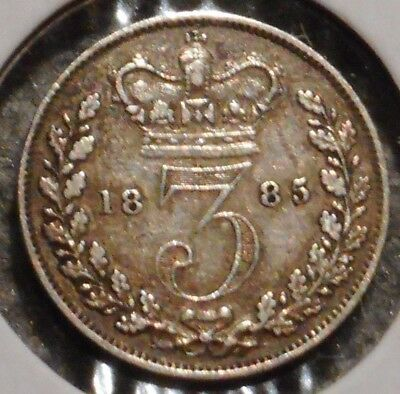 British Silver Threepence - 1885 - Queen Victoria - $1 Unlimited Ship