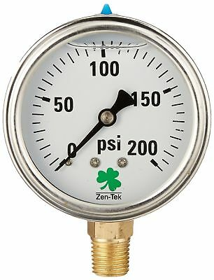 Pressure Gauge for Air Water with 1/4 Npt Mount Glycerin Liquid Filled 200 PSI