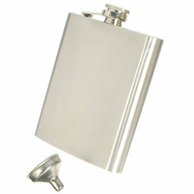 Stainless Steel Whisky Liquor Alcohol Pocket Hip Flask +Funnel(With Plasti D4U5