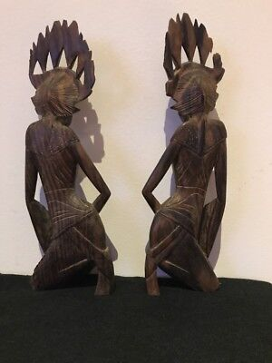 vintage Pair Of Hand Carved Wooden Kneeling  Figures Beautiful