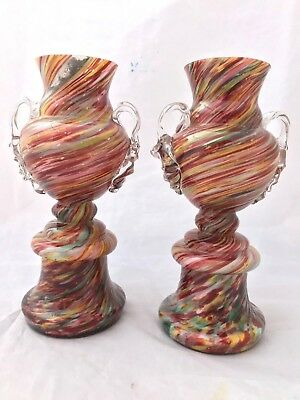 Pair of Czech Bohemian Welz Multi-Coloured Sprial Trophy Cased Art Glass vases