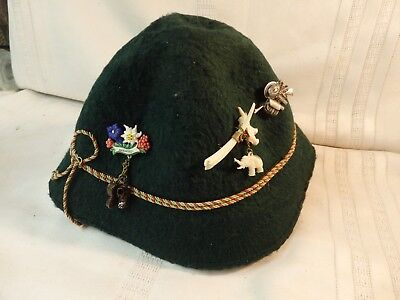 Vintage Switzerland, Swiss Alps Green Hat with Charms and Pins