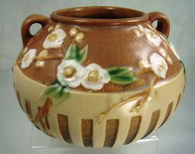 Roseville Pottery VIBRANT  MINT Cherry Blossom BALL Vase 621-6 Tan and Perfect!