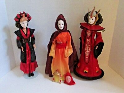 STAR WARS Hasbro Queen Amidala Padme Dolls Lot of 3 Episode 1 1999