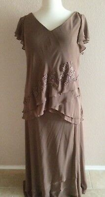 Mother of the Bride/Groom Tea Length Dress Semi Formal Occasion, Plus Size 18W