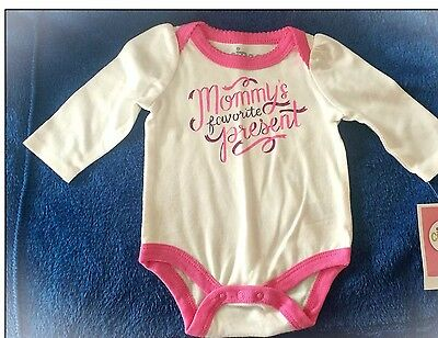 """White & Pink Bodysuit """"Mommy's Favorite Presents"""" 0-3 Months NWT"""