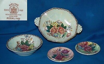 Collection of 4 Maling Rosalind 2 dishes & 2 pin trays