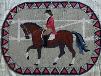 Claire Murray Wool Horse Rider Equestrian Area Rug 25x34 Brown Tan