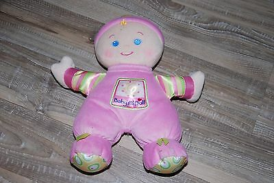 Peluche Doudou Poupée Bébé FISHER PRICE 2008 Baby First Doll Rose Grelot 27 Cm