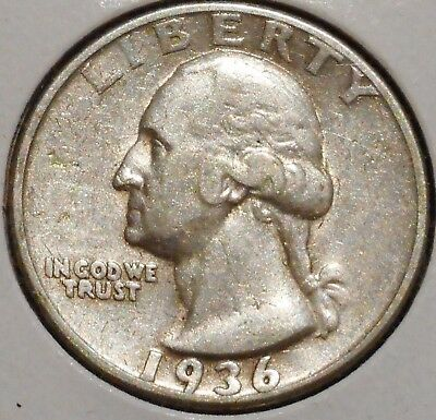 Washington Silver Quarter - 1936 - $1 Unlimited Shipping.
