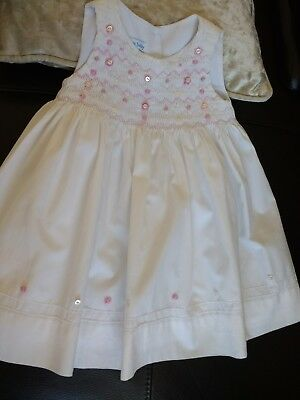 John Lewis white cotton smocked baby dress,hand embroidered.age 3-6 months