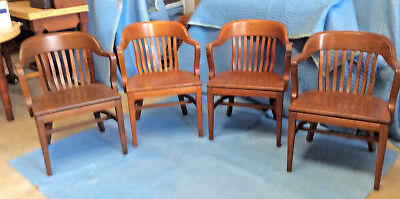 W.H Gunlock Chair Co: 4 Walnut Chairs,1947, 8 Spindle Back;  Government, Office