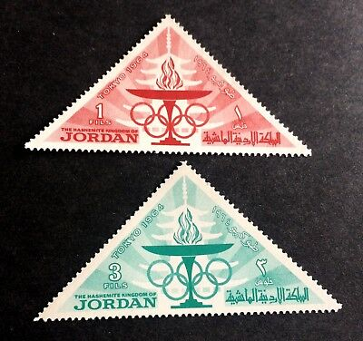 2 nice triangle stamps Kingdom of Jordan 1964 Olympic Games Tokyo