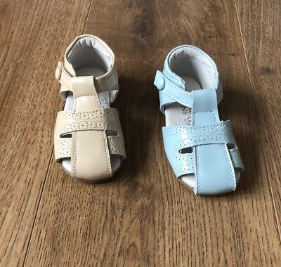 Spanish Patent Leather Sandals Light Camel Blue
