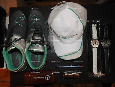 Mercedes F1 Set Puma Shoes 9½Us , Caps , Watch , Pen, Sunglasses Case Lighter