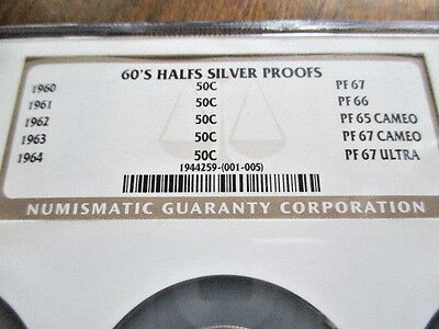 Ultra Rare 1960's Silver Half Proof Set Ngc Multi Slab!! ***low Start Price***