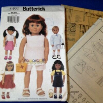 "18"" Dolls Clothes - Butterick 3491 - New Factory Folded Uncut Pattern"