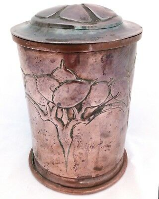 Arts and Crafts Copper Repousse Tea Caddy Newlyn Keswick Type Honesty Pattn 1900