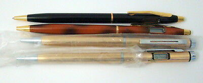 Lot of 4 Ballpoint Ink Pens with Clocks at the End 2 Gold Tone 2 Brown