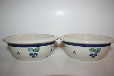 Set of 2 Hartstone Blueberry (Blue Band) Coupe Cereal Bowls