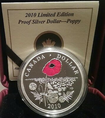 Poppy Coin Limited Edition Proof Silver Dollar 2010 Canada: Sea of Poppies