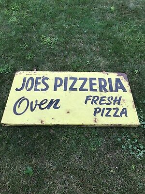 VINTAGE 1950s JOE'S PIZZERIA PIZZA SHOP SIGN from NEW JERSEY BEACH COAST 2 SIDE