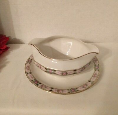 Edwin M. Knowles China Co. Semi-Vitreous Gravy/Sauce Bowl w Attached Underplate