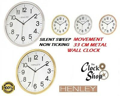 Henley Quiet Sweep 33 cm Contemporary Metal Look Silver Brass Copper Wall Clock