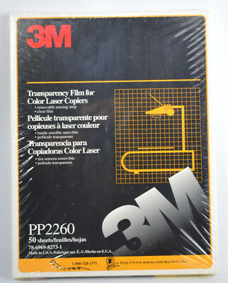 3M Transparency Clear Film for Color Laser Copiers PP2260 50 Sheets 8.5 x 11''