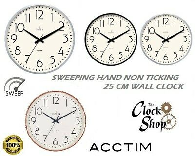 Acctim Earl Sweep Action Wall Clock Non Ticking Gold Black Silver Effect Case
