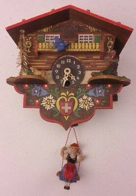 Vintage Cuckoo Clock German Girl on a Swing Wind up but no Key FREE UK P&P
