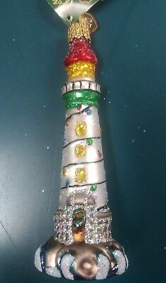 """Old World Christmas """"Holiday Lighthouse"""" Ornament-GLASS Inspirational OWC"""