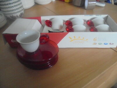 Omada shabby chic style cups and saucers. tennis sets x 6 boxed
