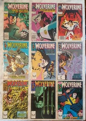 Lot of 9 1980's Wolverine Marvel Comic books SOLO Storylines