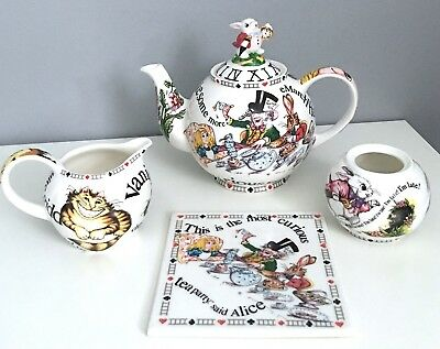 Paul Cardew Alice In Wonderland Teapot, Creamer, Sugar and Plate/coaster