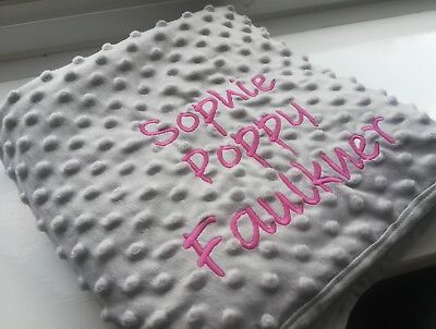 Grey Dimple Bubble Super Luxury Soft Baby Blanket Embroidered Personalised Name