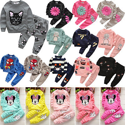 2Pcs Kids Baby Girls Boys Outfits Long Sleeve Tops + Jogger Pants Tracksuit Set