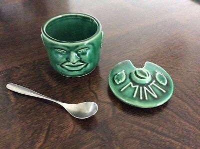 Mint Pot Unique Pottery Made in England Green Cheeky Face Vintage Kitchenallia